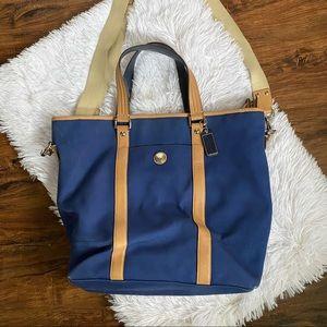 COACH Blue Voyage Canvas  Leather Trim Tote Bag